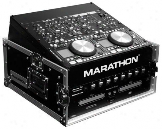 Marathon Pro 10u Slant Mixer Rack / 4u Perpendicular Neck  System W/full Ac Door