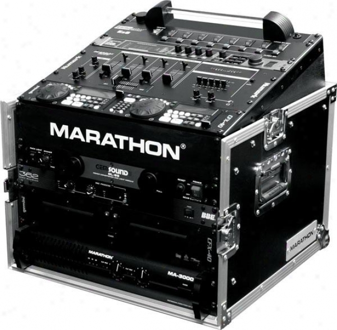 Marathon Pro 10u Slant Mixer Rack / 6u Perpendicular Rack System W/full Ac Door