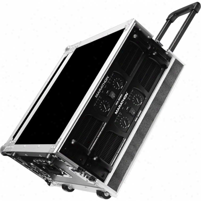 "Marathon Pro 4u Amplifier Deluxe Case, 18"" Body Depth W/pull-out Handle & Wheels"