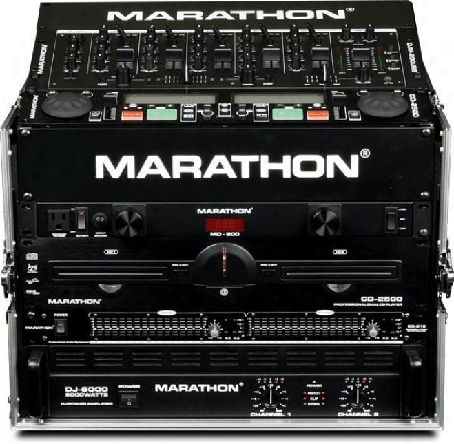 Marathon Pro 8 Slant Mixer Raco / 6u Vertical Rack System W/full Ac Door