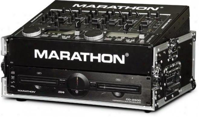 Marathon Pro 8u Slant Mixer Rack / 2u Vertical Rack System W/full Ac Passage