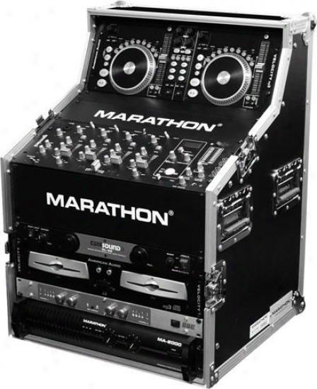 "Marathon Pro Flight Ready Dual Cd Control & 19"" Mixer Dj Strive Station Top Rack 4"
