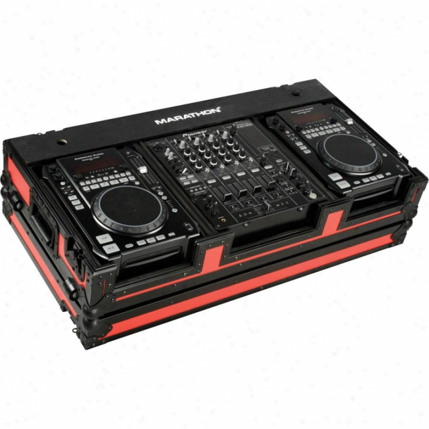 "Marathon Pro Flight Ready Red-black Series Cd Players + 12"" Mixer Coffin"