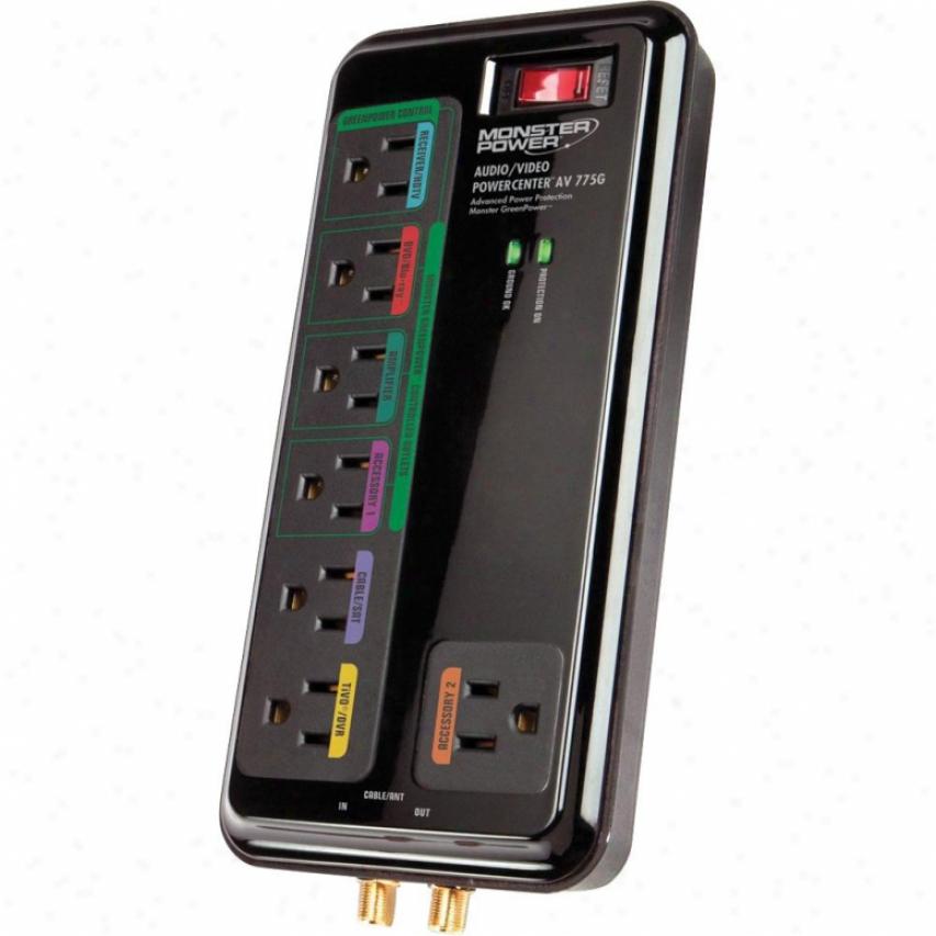 Monster Cable Posercenter Av-775g Green Power Audio Video Surge Protector