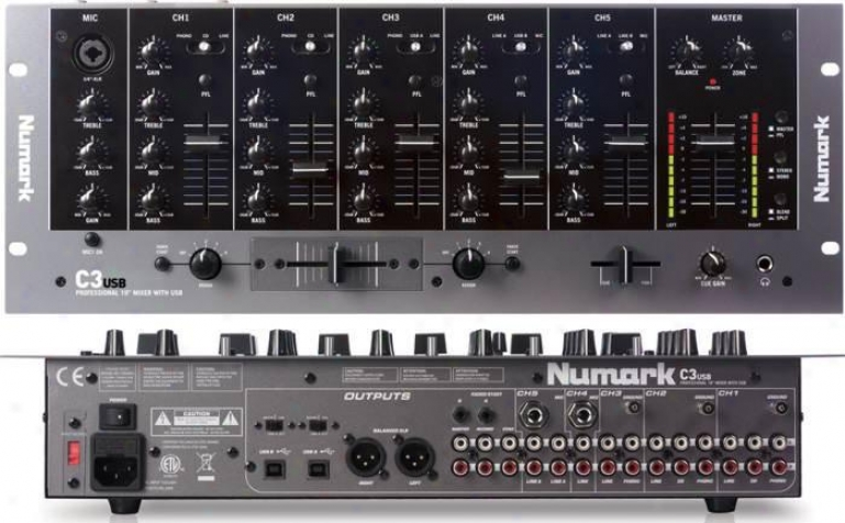 Numark Five-channel Rack Dj Mixer W/usb Input & Usb Output & Three-band Eq