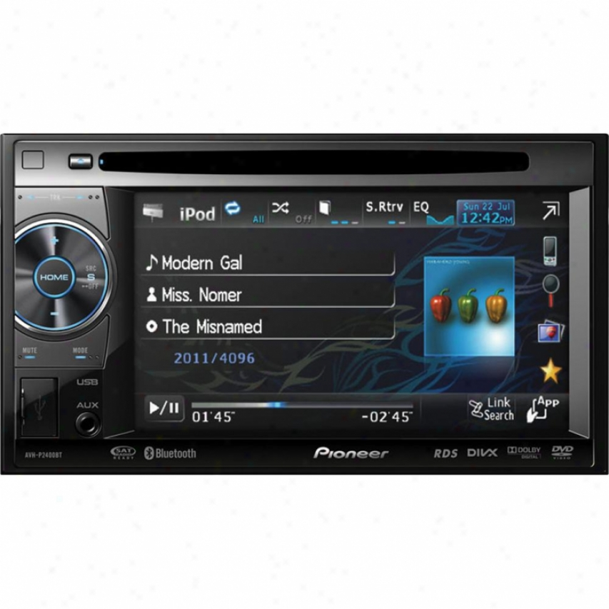 "Pioneer Avh-p2400bt 2-din 5.8"" Touchscreen Multimedia Dvd Receiver W/ Bluetooth"