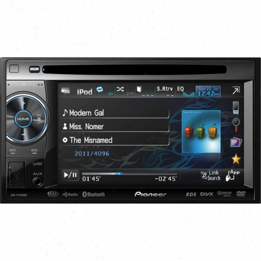 "Pioneer Avh-p3400bh 2-din 5.8"" Touchscreen Dvd Receiver W/ Bluetooth & Hd Radio"