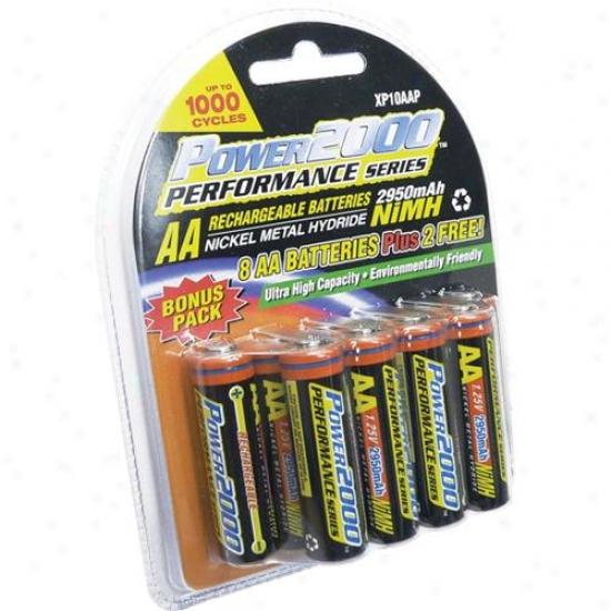 Power 2000 Xp10aap 2950 Mah Aa Nickel Metal Hydride Rechargeable Batteries