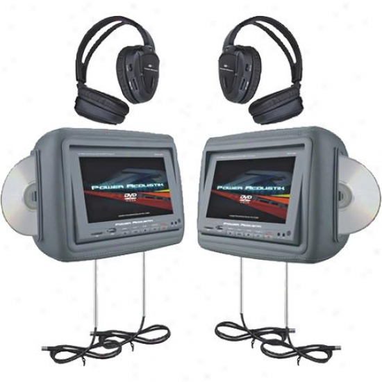 Power Acoustik Hdvd-9gr 8.8 Inch Universal Headrest Monitors - Gray