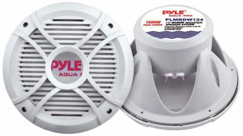 Pyle 10 600 Watt White 4 Ohm Marine Subwoofer
