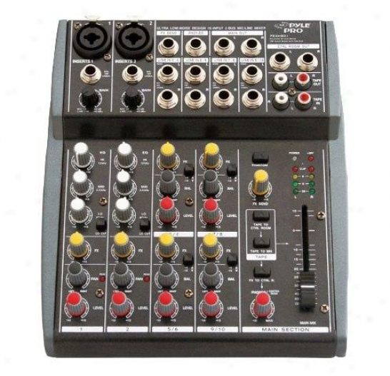 Pyle 10 Channel Balanced Studio Grade Imp Audio Mixer With Pre-amp