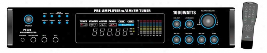 Pyle 1000 Watts Am/fm/ Tuner Hybrid Amplifier W/ 70v Output W/built In Auto Mute