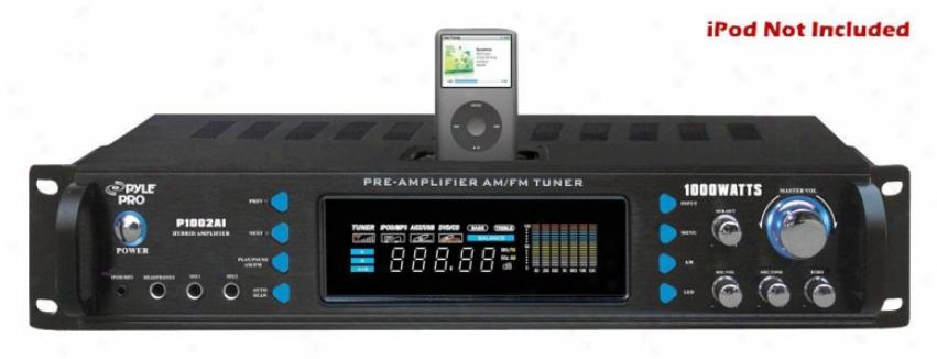Pyle 1000 Watts Hybrid Receiver & Pre-amplifier W/am-fm Tuner/ipod Docking Stati