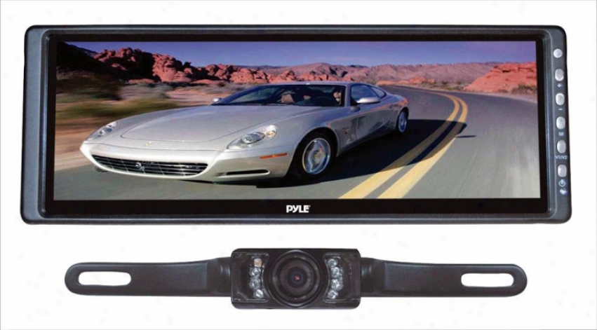 Pyle 10.2'' Rearview Reflector Monitor W/ License Plate Mount Night Vision Camera