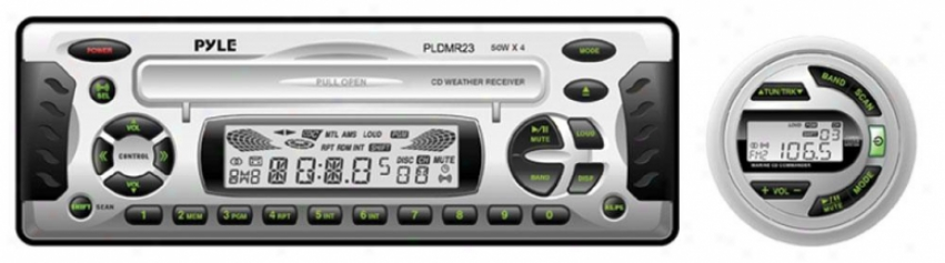 Pyle 1.5 Din Waterproof Marine Dvd/cd/mp3 Player Receiver W/weather Band Radio