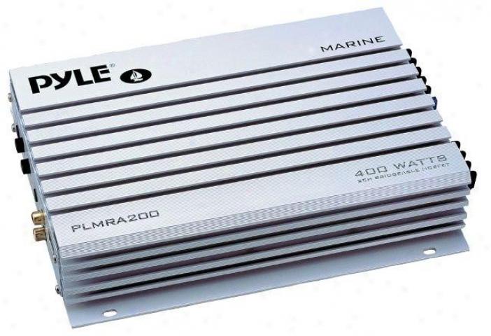 Pyle 2 Channel 400 Watt Bridgeable Waterproof Marine Amplifier