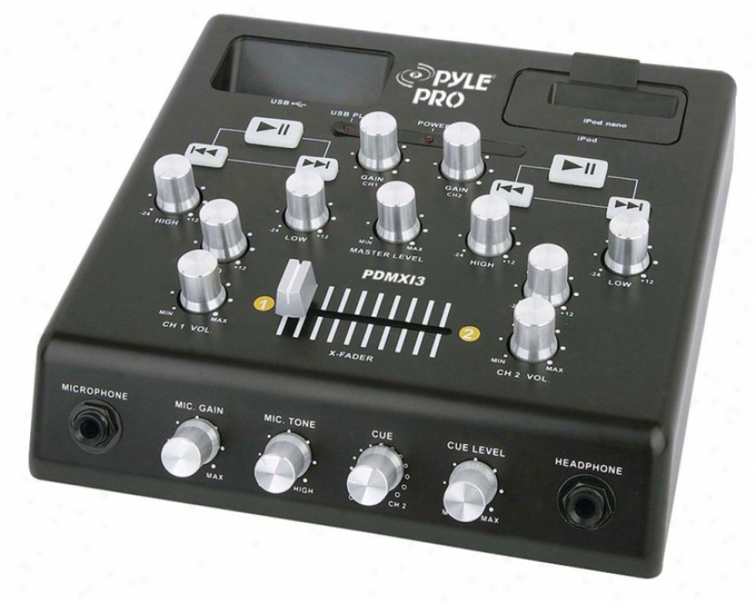Pyle 2 Channel Usb / Ipod Dj Mixer