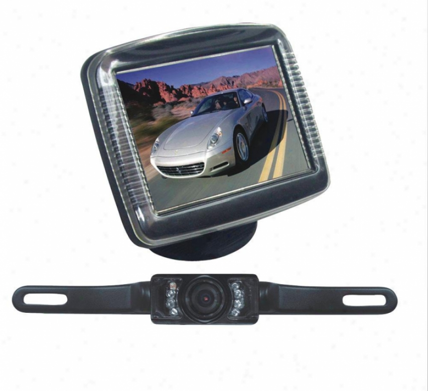 Pyle 3.5#039;' Slim Tft Lcd Universal Mount Monitor W/ License Plate Mount Rearview