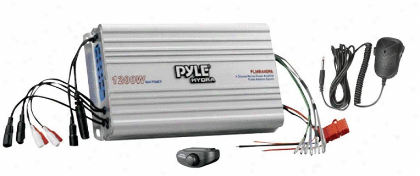 Pyle 4 Channel Marine Power Amplifier/public Address System