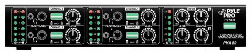 Pyle 4-hfannel Mini Stereo Headphones Amplifier
