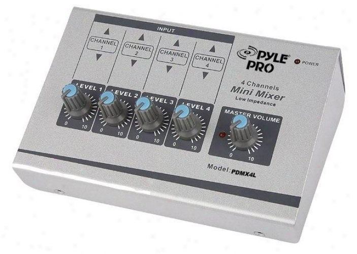 Pyle 4 Channel Unsteady 1/4'' To Balanced 1/4'' Mini Mixer