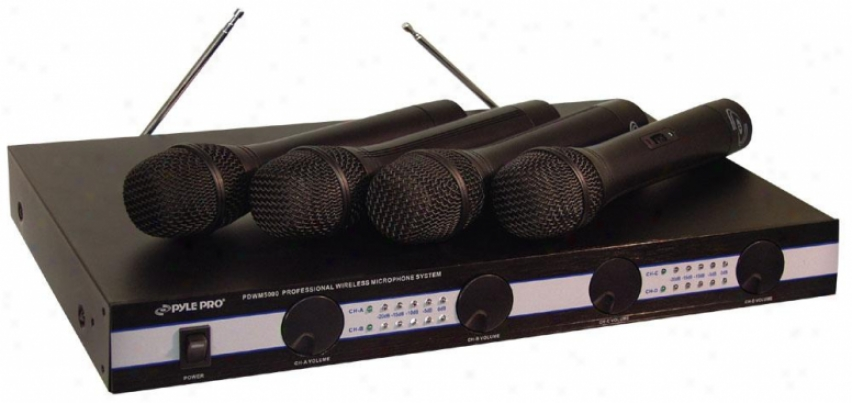 Pyle 4 Mic Vhf Wireless Microphone System