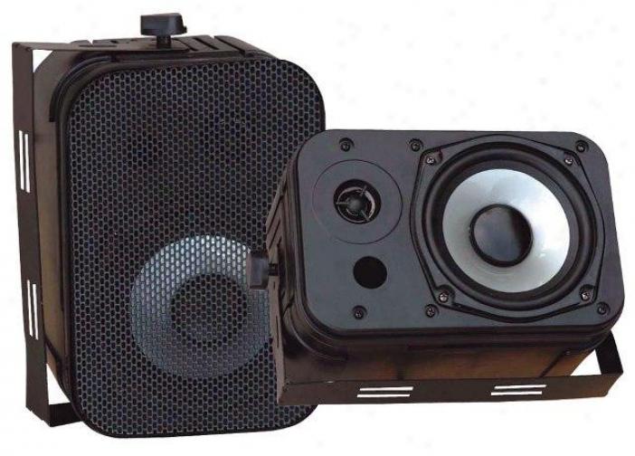 """Pyle 5.25"""" Indoor-outdoor Waterproof Speakers Black Pdqr40b"""