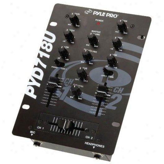 Pyle 6 1/2'' 2-channei Professional Mixer With Usb