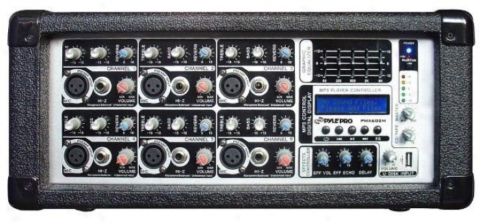 Pyle 6 Chsnnel 600 Watts Powered Mixer W/ Mp3