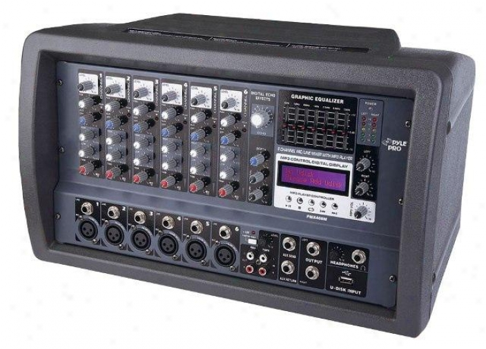 Pyle 6 Channel 600 Watts Powered Mixer W/mp3 & Usb Input Pmx408m