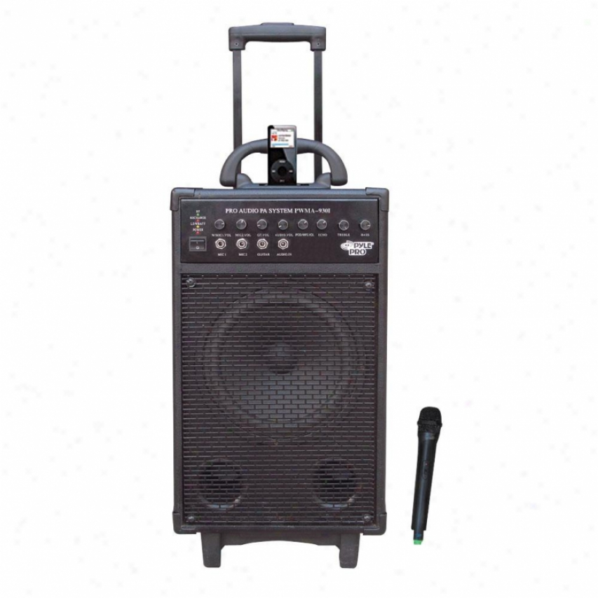 Pyle 600 Watt Vhf Wireless Portable Pa System/echo W/ipod Dock