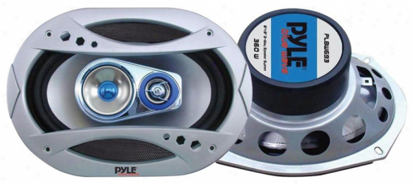 Pyle 6''x9'' 400 Watt Three-way Speaker W/blue Led Light