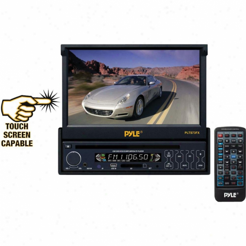 Pyle 7-in Single Din In-dash Motorized Touch Screen Tft/lcd Monitor W/ Dvd/cd/mp