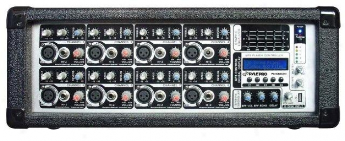 Pyle 8 Channel 800 Watts Powered Mixer W/mp3 Input