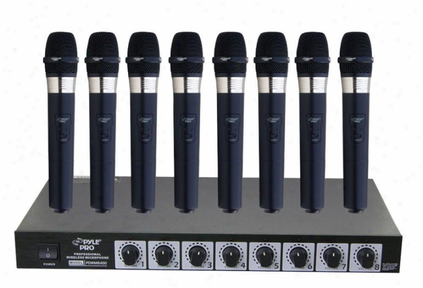 Pyle 8 Mic Professional Handheld Vhf Wireless Microphone Scheme