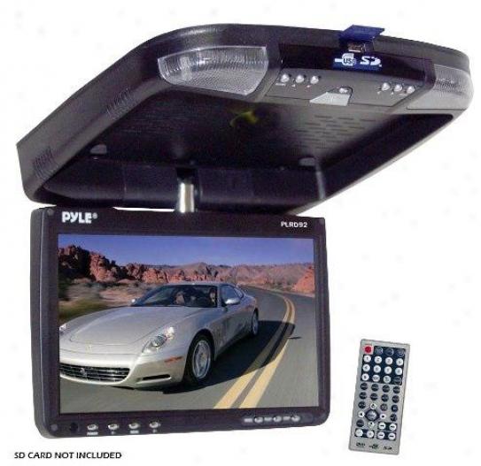 "Pyle 9"" Flip Down Monitor & Dvd Player With Wireless Fm Modulator/ Ir Transmitte"