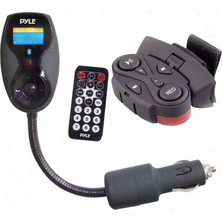 Pyle Bluetooth Hands Free Car Fm Transmitter W/ Steering Wheel Remote