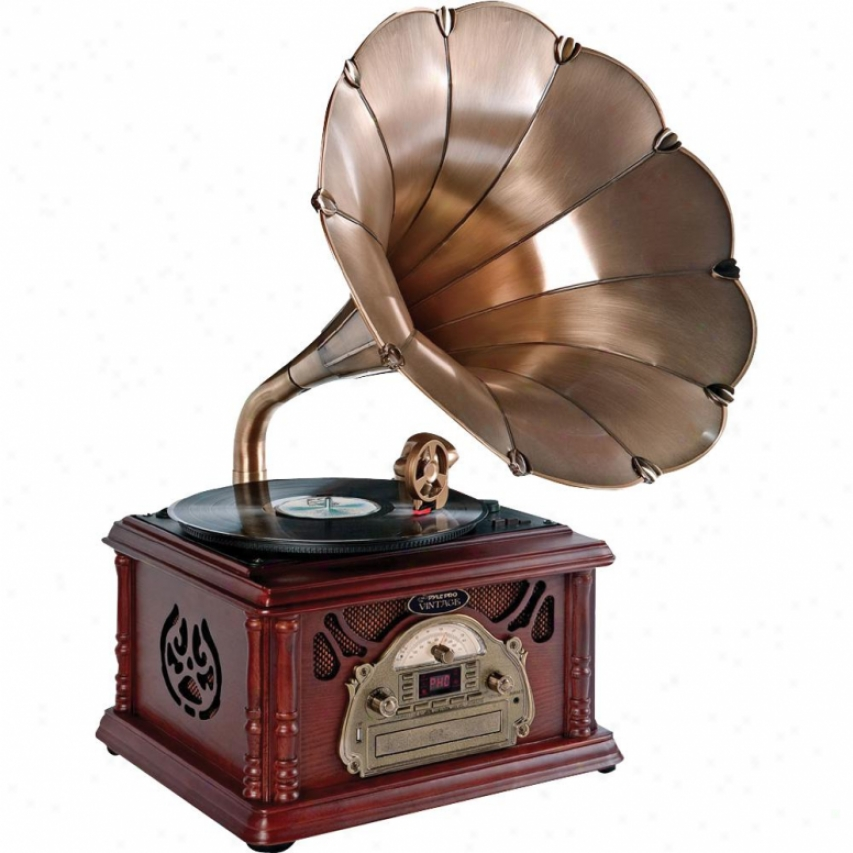 Pyle Classical Trumpet Horn Turntable/phonograph W/ Am/fm Radio Cd/cassette/usb