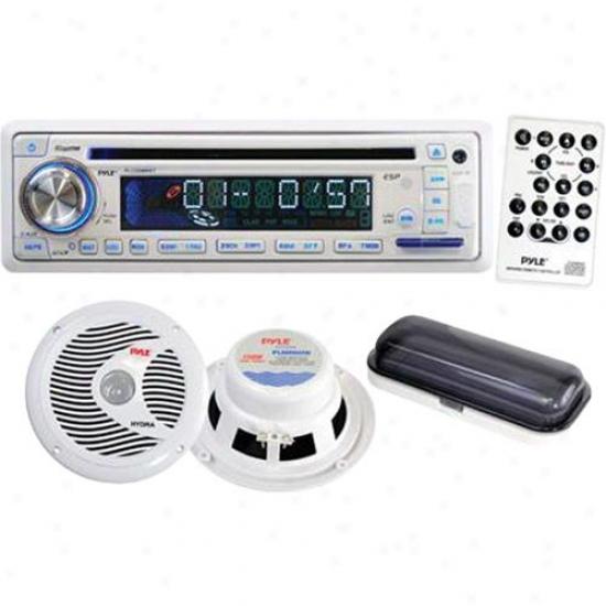 Pyle Complete Marine Audio System Plcd8mrkt - White
