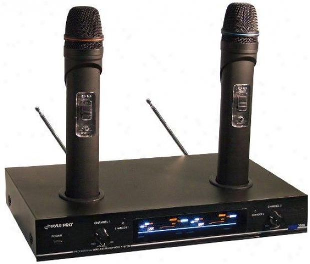 Pyle Dual Vhf Rechargeable Wirelesa Microphone System