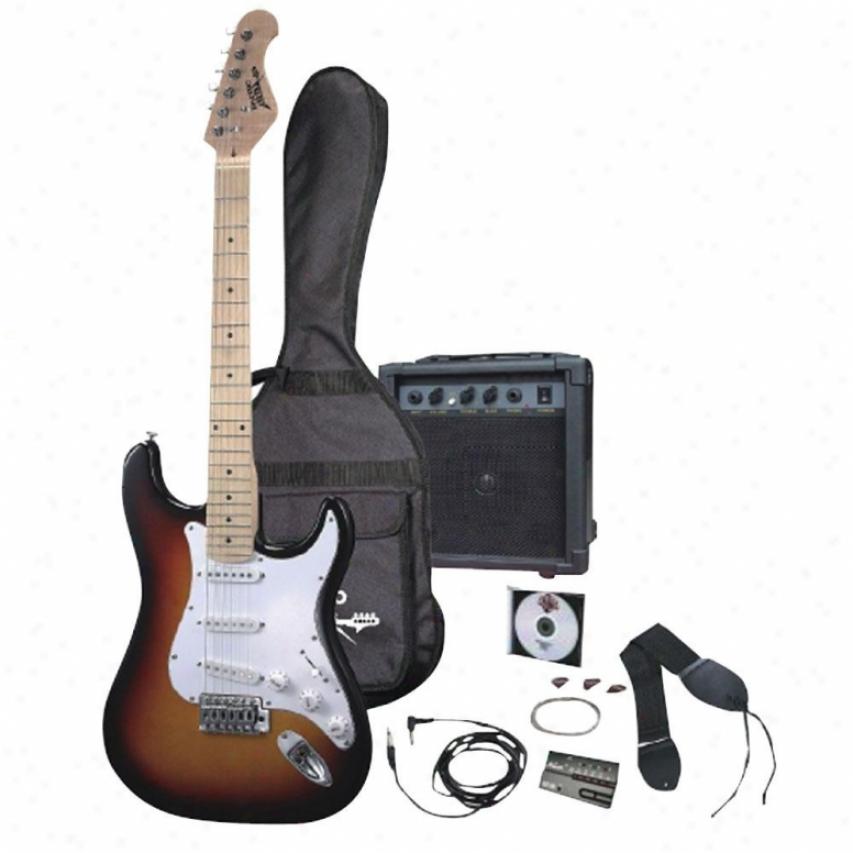 Pyle Electric Guitar Package W/guitar Amplifier/strings/tuner/bag