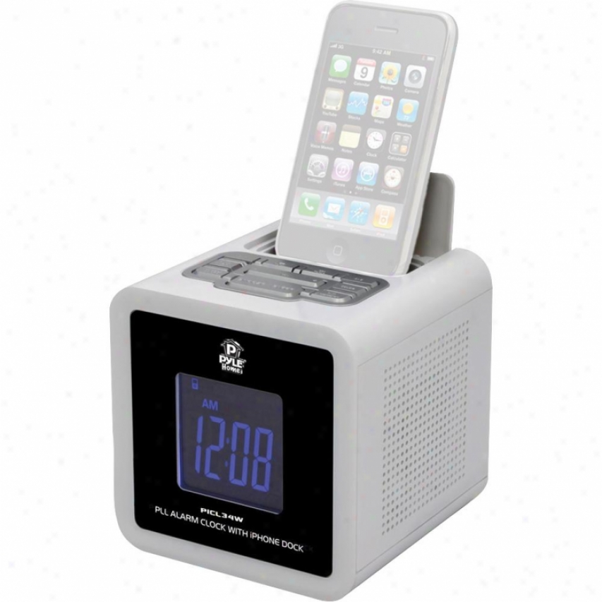 Pyle Ipod Iphone Clock Radio W/ Fm Receiver And Dual Alarm Clock (white)