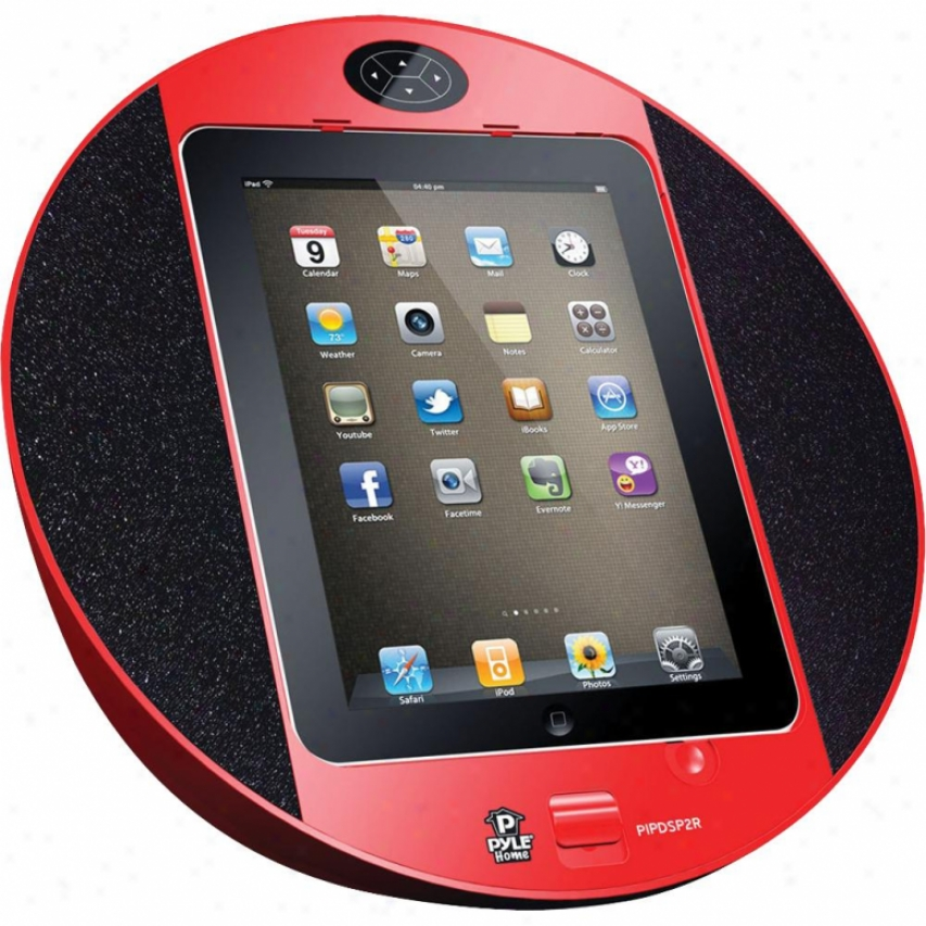 Pyle Ipod/iohhone Ipad Touch Screen Dock With Built-in Fm Radio/alarm Clock (red)