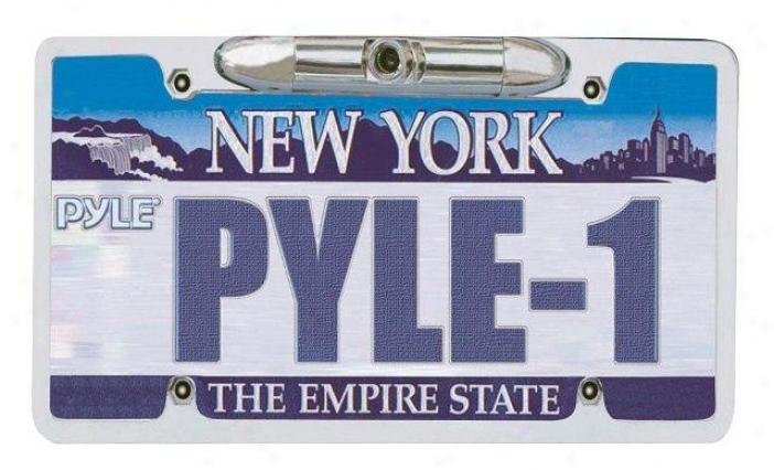 "Pyle License Plate Build up View Backup Camera ''zinc Metal Chrome"""