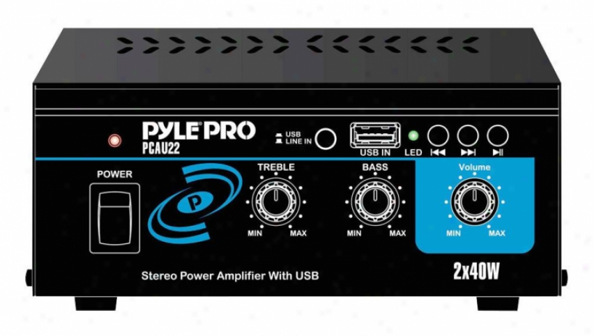 Pyle Mini 2 X 40 Watts Stereo Power Amplifier With Usb