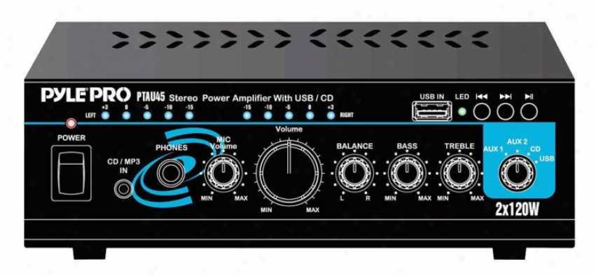 Pyle Mini 2x120w Stereo Power Amplifier With Usb/cd