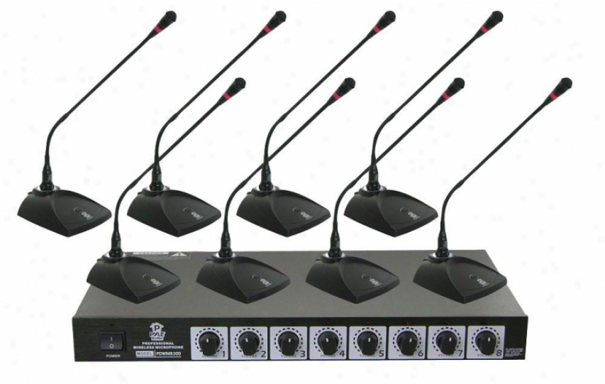 Pylle Professional Conference Desktop Vhf Wireless Microphone System