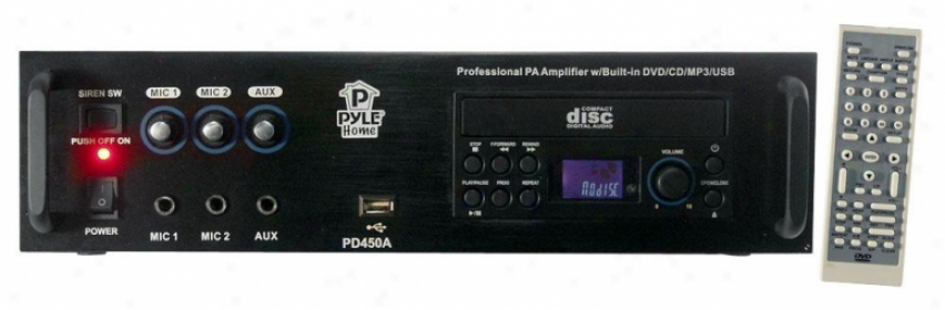 Pyle Professionsl Pa Amplifier W/bulit In Dvd/cd/mp3/usb/70v Output