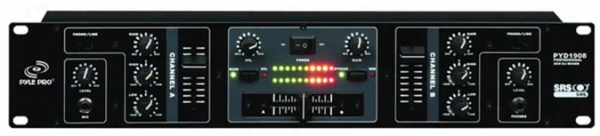 Pyle Pyd1908 Professjonal 2 Channel Dj Mixer With Srs Audio Process