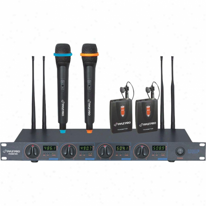 Pyle Rack Mount Professional 4 Mic Wireless Uhf Microphone System With 2 Lavalle